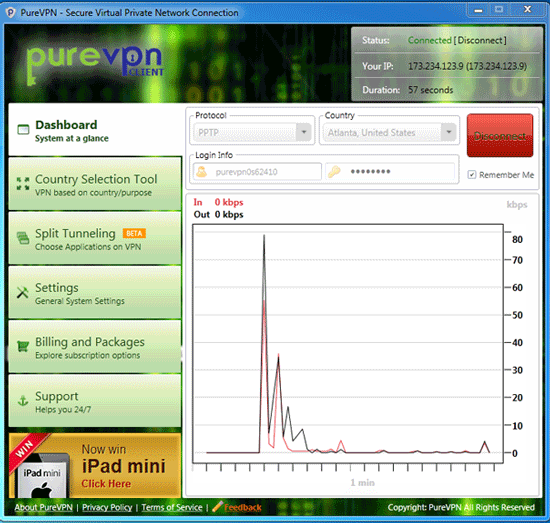 PureVPN Review Software Dashboard