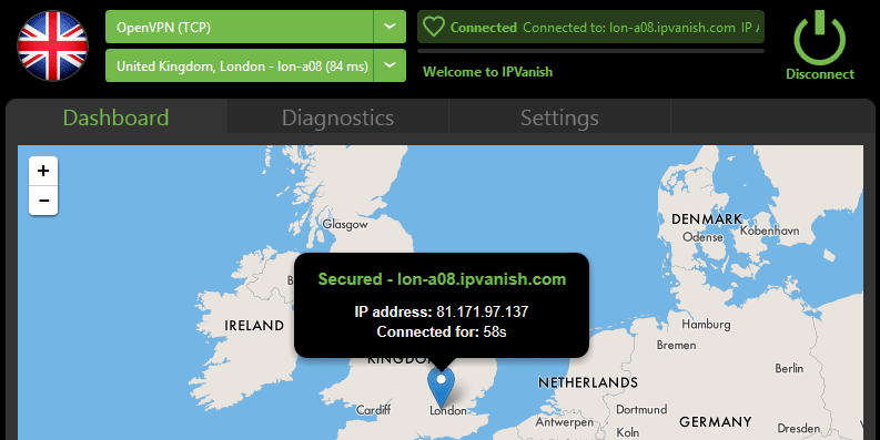 IPVanish map view w/ IP address